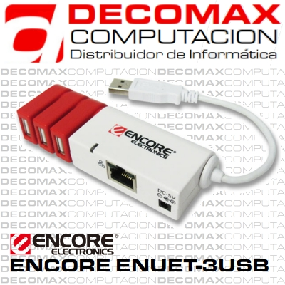 ADAPTADOR USB A ETHERNET ENCORE ENUET-3USB HUB BOX