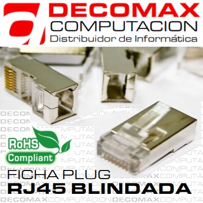 FICHA RJ45 CAT5E BLINDADA MACHO DOBLE CONTACT ROHS